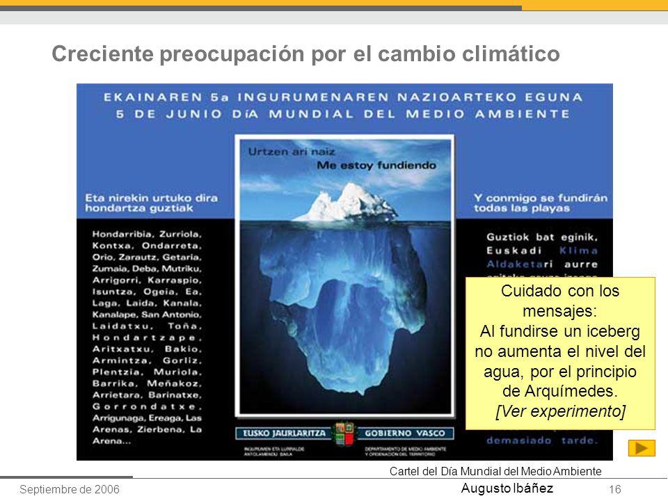 Septiembre de 200616 Augusto Ibáñez Creciente preocupación por el cambio climático Cartel del Día Mundial del Medio Ambiente Cuidado con los mensajes: