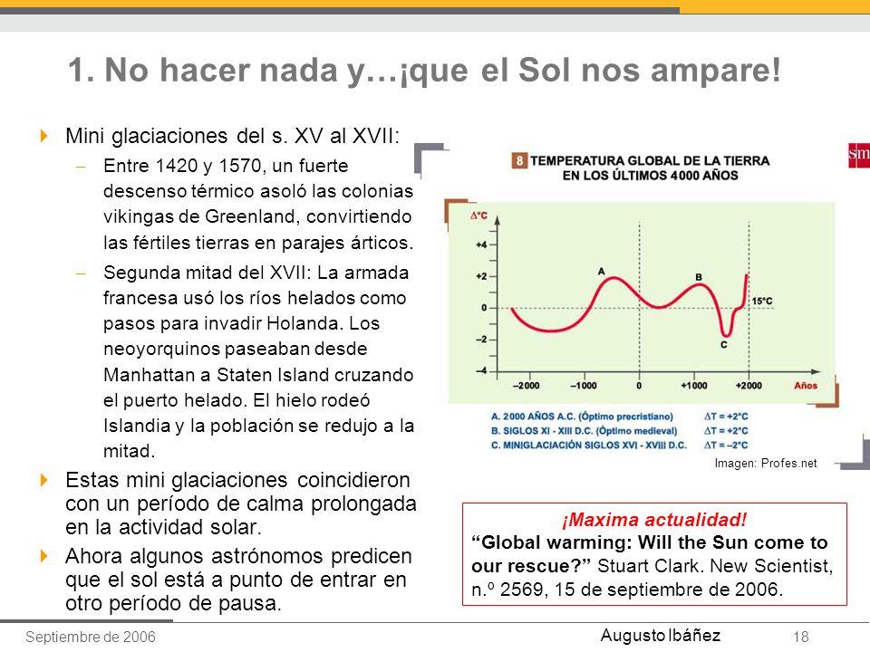 Septiembre de 200618 Augusto Ibáñez 1. No hacer nada y…¡que el Sol nos ampare! Mini glaciaciones del s. XV al XVII: – Entre 1420 y 1570, un fuerte des