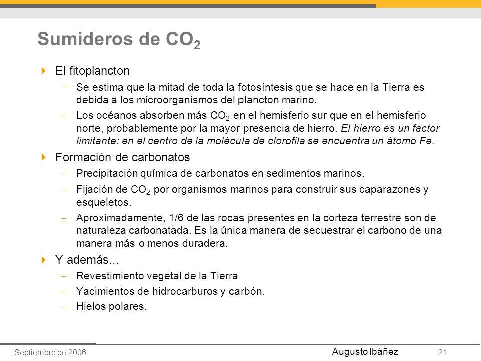 Septiembre de 200621 Augusto Ibáñez Sumideros de CO 2 El fitoplancton – Se estima que la mitad de toda la fotosíntesis que se hace en la Tierra es deb