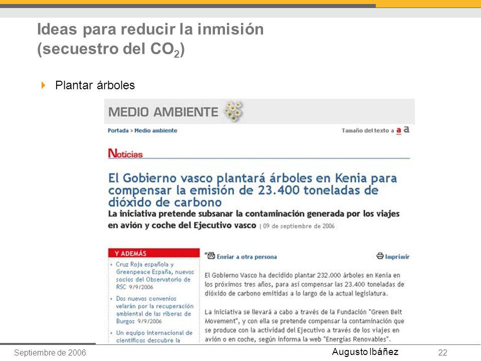 Septiembre de 200622 Augusto Ibáñez Ideas para reducir la inmisión (secuestro del CO 2 ) Plantar árboles