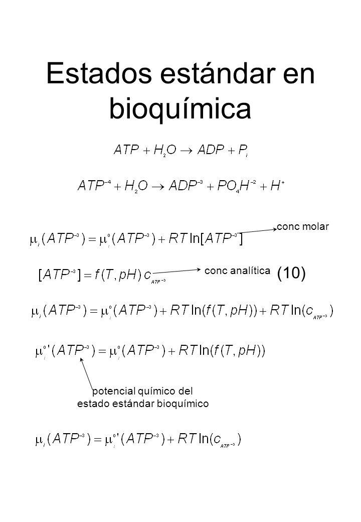 Estados estándar en bioquímica conc analítica conc molar (10) potencial químico del estado estándar bioquímico