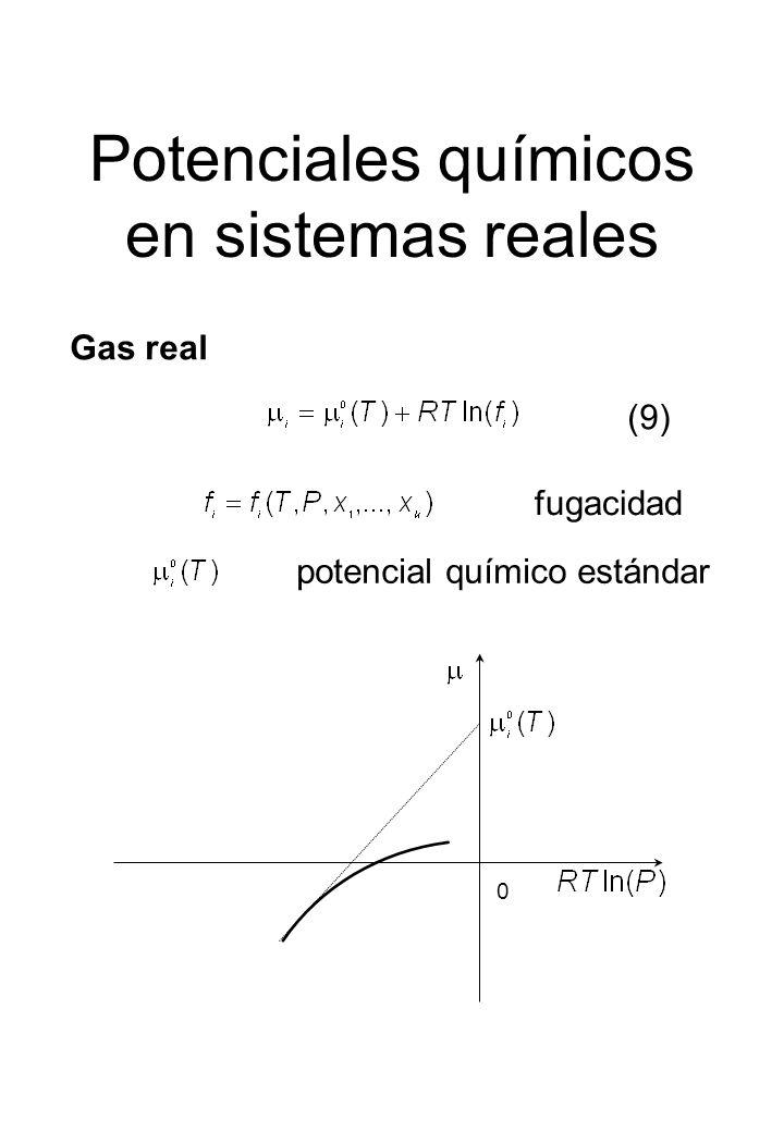 Potenciales químicos en sistemas reales Gas real fugacidad potencial químico estándar 0 (9)