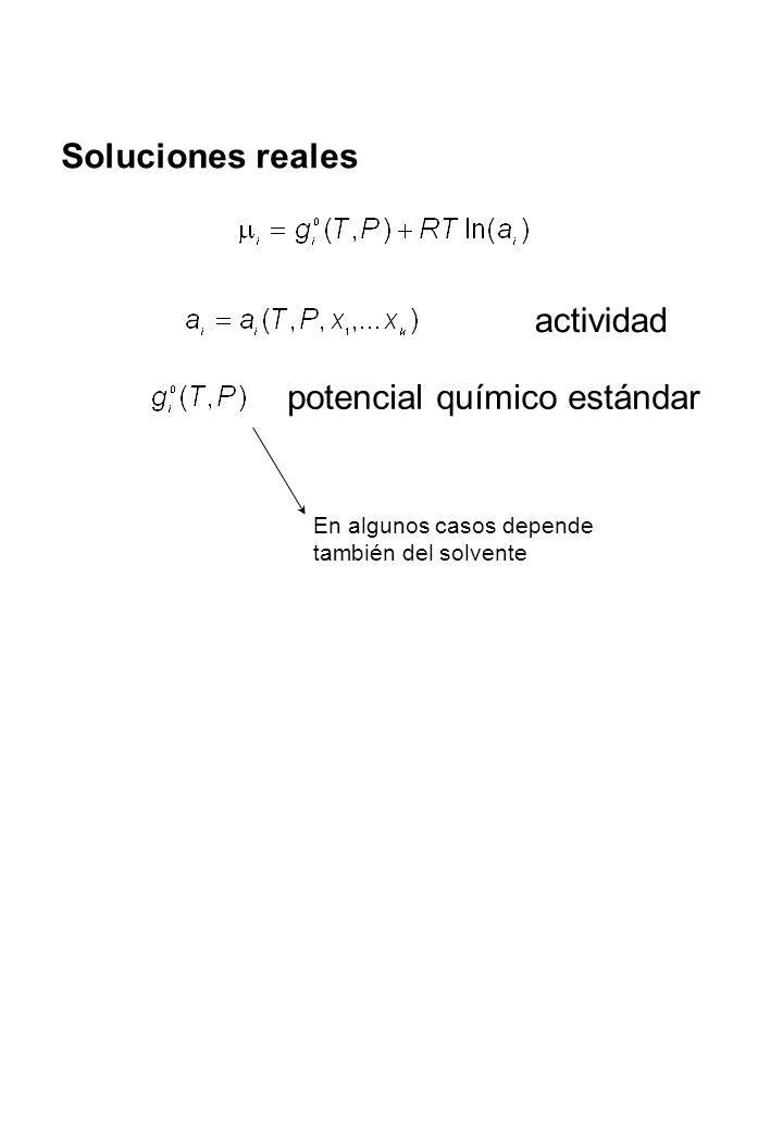 Sistema racional Cuando O sea Para Escribimos Por lo tanto Uso: componentes con x i >>0 = factor de actividad