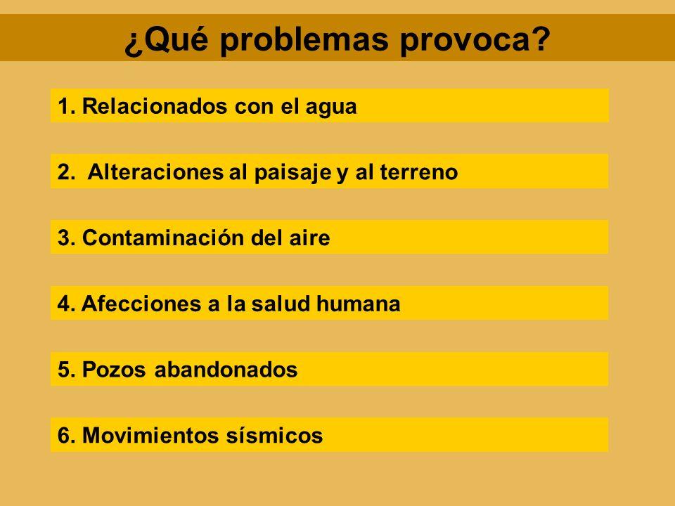 ¿Qué problemas provoca? 1. Relacionados con el agua 2. Alteraciones al paisaje y al terreno 3. Contaminación del aire 4. Afecciones a la salud humana