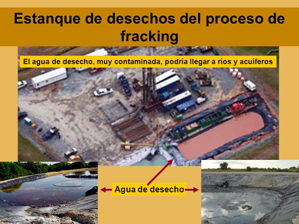 Estanque de desechos del proceso de fracking Agua de desecho El agua de desecho, muy contaminada, podría llegar a ríos y acuíferos