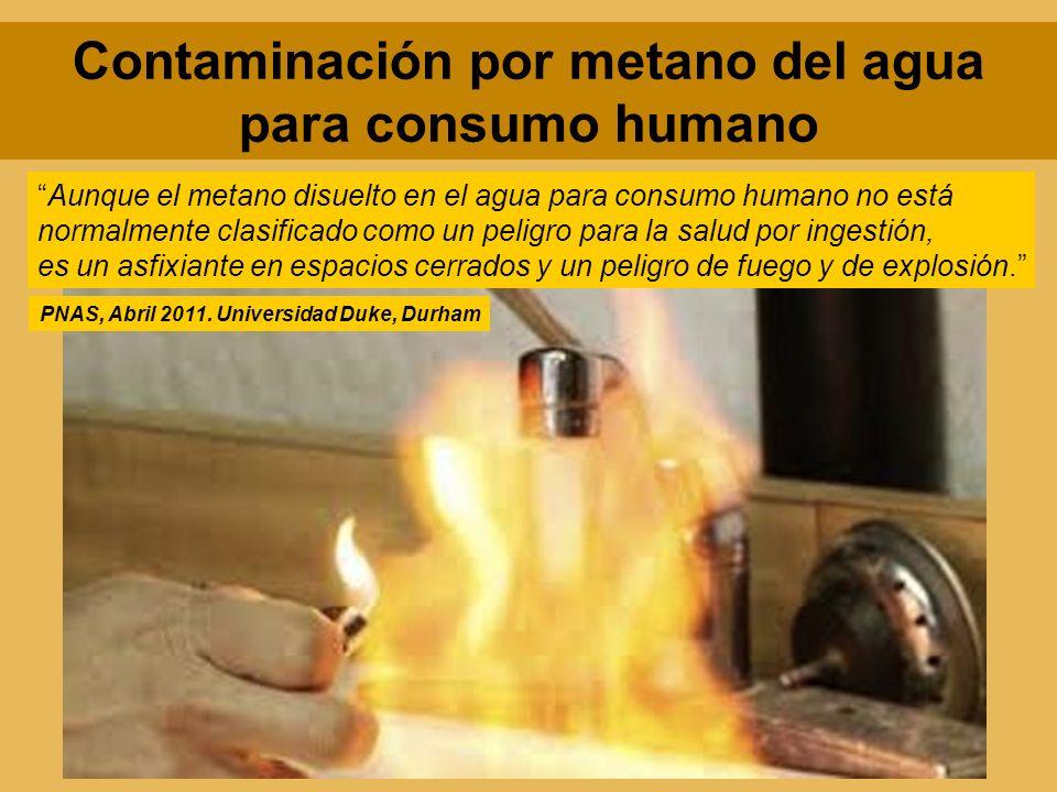 Aunque el metano disuelto en el agua para consumo humano no está normalmente clasificado como un peligro para la salud por ingestión, es un asfixiante