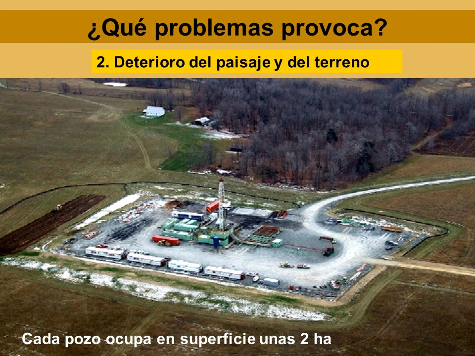 ¿Qué problemas provoca? 2. Deterioro del paisaje y del terreno Cada pozo ocupa en superficie unas 2 ha