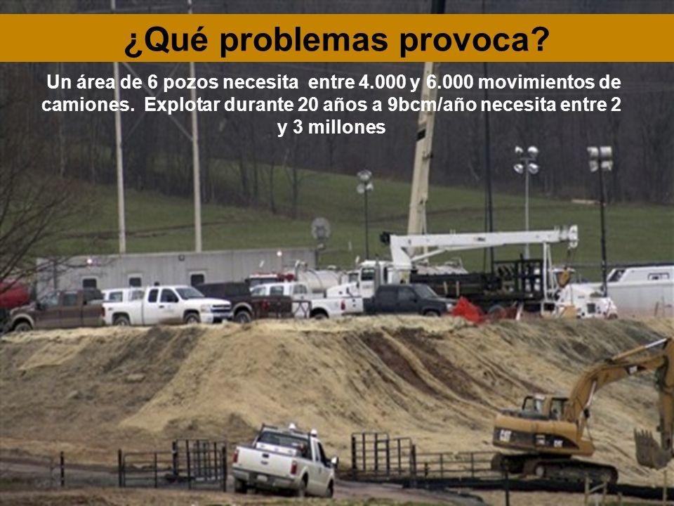 Un área de 6 pozos necesita entre 4.000 y 6.000 movimientos de camiones. Explotar durante 20 años a 9bcm/año necesita entre 2 y 3 millones ¿Qué proble