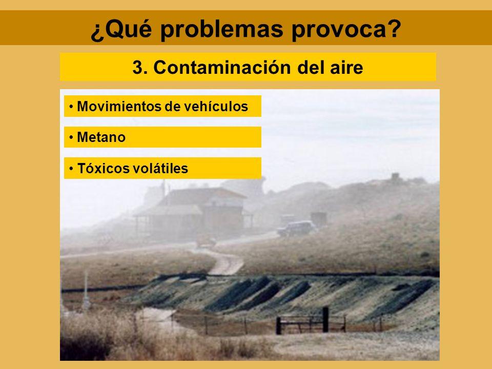 3. Contaminación del aire Movimientos de vehículos Metano Tóxicos volátiles