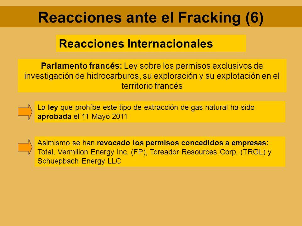 Reacciones ante el Fracking (6) Reacciones Internacionales Parlamento francés: Ley sobre los permisos exclusivos de investigación de hidrocarburos, su