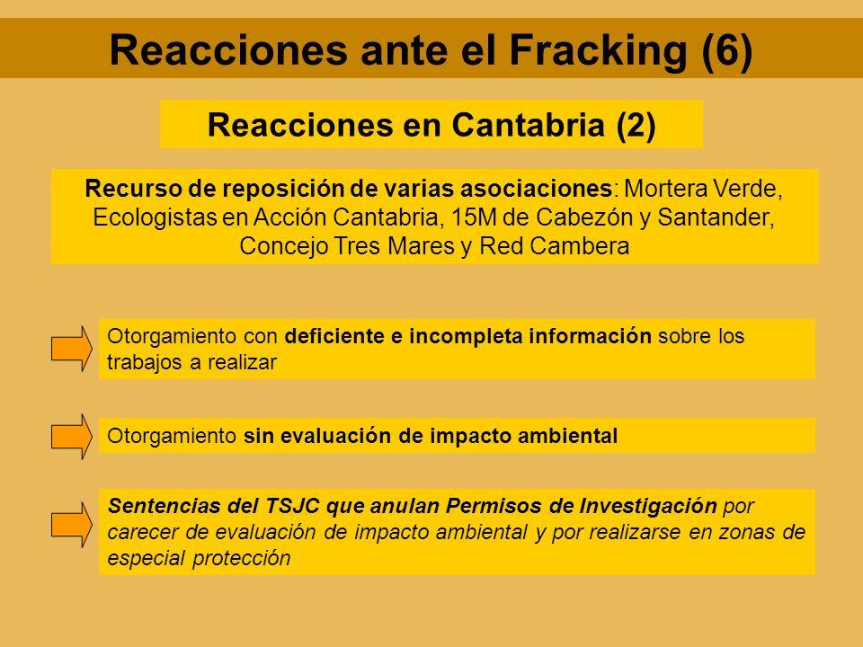 Reacciones en Cantabria (2) Recurso de reposición de varias asociaciones: Mortera Verde, Ecologistas en Acción Cantabria, 15M de Cabezón y Santander,