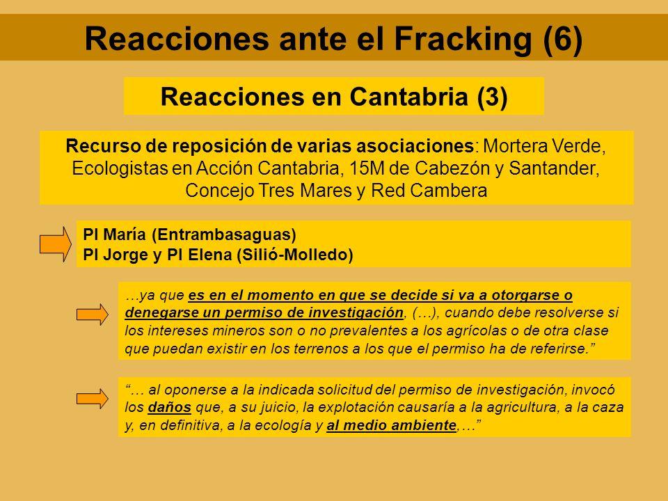 Reacciones en Cantabria (3) Recurso de reposición de varias asociaciones: Mortera Verde, Ecologistas en Acción Cantabria, 15M de Cabezón y Santander,