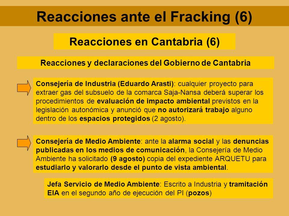 Reacciones en Cantabria (6) Reacciones y declaraciones del Gobierno de Cantabria Consejería de Industria (Eduardo Arasti): cualquier proyecto para ext