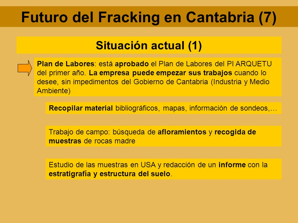 Futuro del Fracking en Cantabria (7) Situación actual (1) Plan de Labores: está aprobado el Plan de Labores del PI ARQUETU del primer año. La empresa
