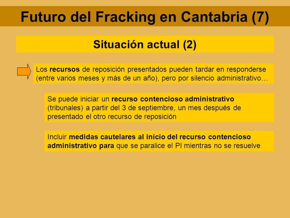 Futuro del Fracking en Cantabria (7) Situación actual (2) Los recursos de reposición presentados pueden tardar en responderse (entre varios meses y má
