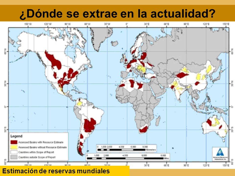 ¿Dónde se extrae en la actualidad? Estimación de reservas mundiales