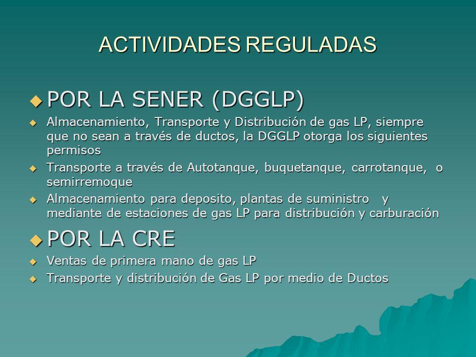 ACTIVIDADES REGULADAS POR LA SENER (DGGLP) POR LA SENER (DGGLP) Almacenamiento, Transporte y Distribución de gas LP, siempre que no sean a través de d