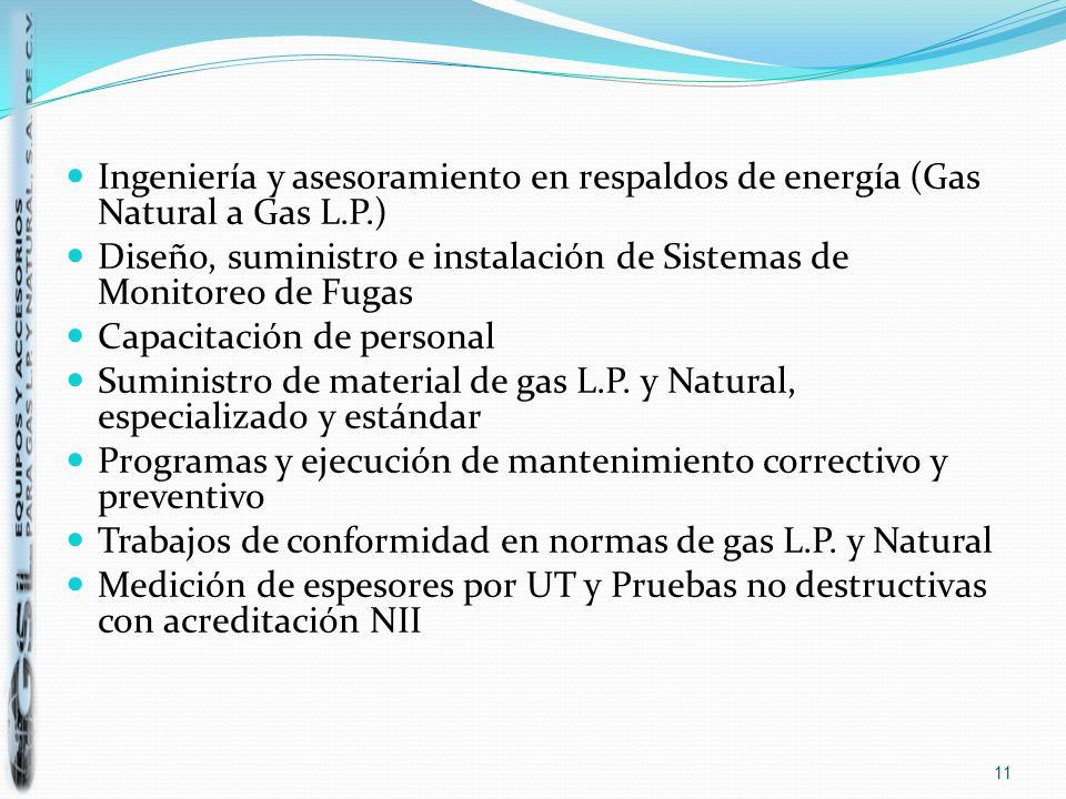 Ingeniería y asesoramiento en respaldos de energía (Gas Natural a Gas L.P.) Diseño, suministro e instalación de Sistemas de Monitoreo de Fugas Capacit