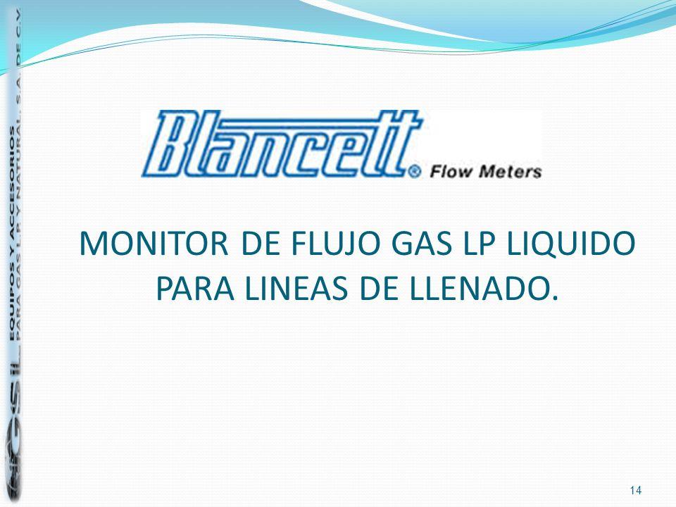 MONITOR DE FLUJO GAS LP LIQUIDO PARA LINEAS DE LLENADO. 14