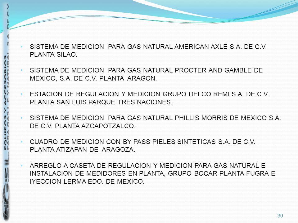 30 SISTEMA DE MEDICION PARA GAS NATURAL AMERICAN AXLE S.A. DE C.V. PLANTA SILAO. SISTEMA DE MEDICION PARA GAS NATURAL PROCTER AND GAMBLE DE MEXICO, S.