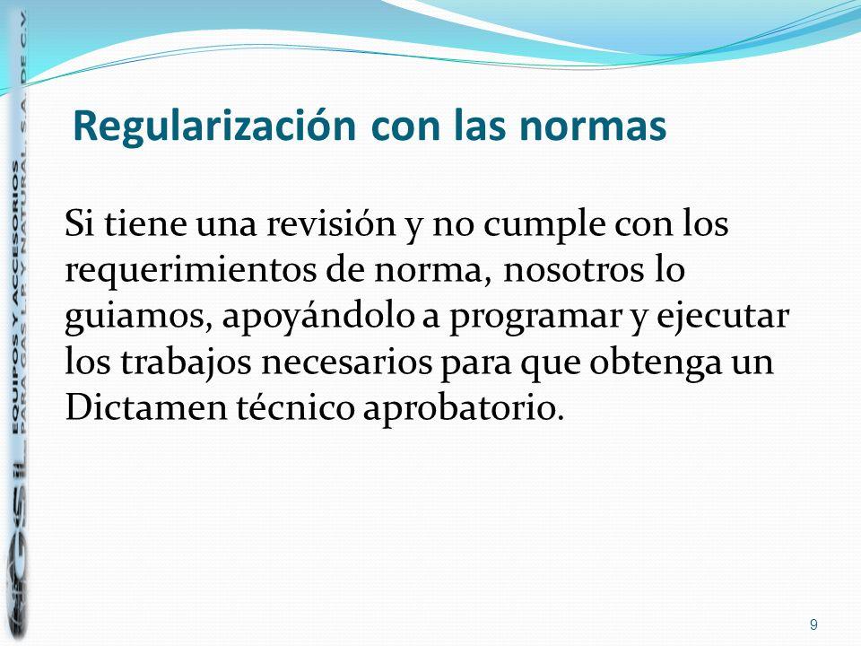 Regularización con las normas Si tiene una revisión y no cumple con los requerimientos de norma, nosotros lo guiamos, apoyándolo a programar y ejecuta