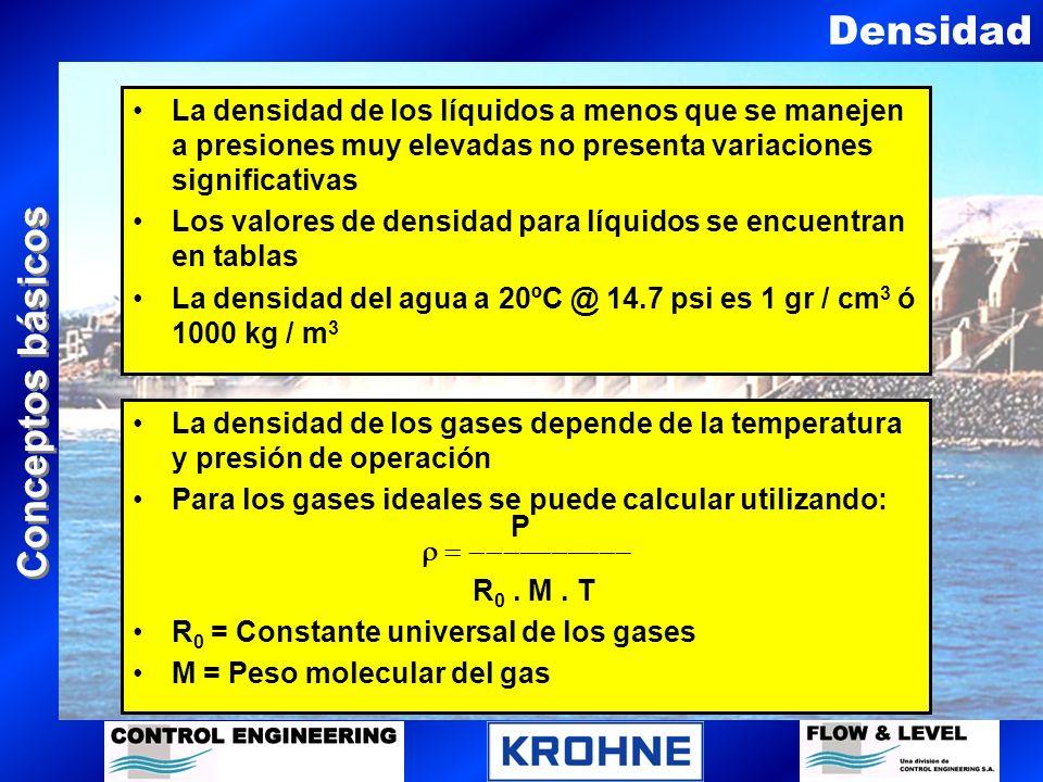 Conceptos básicos Densidad relativa Conocida tambien como peso específico Es la relación entre las densidades de dos fluidos diferentes a la misma temperatura Generalmente para líquidos se utiliza el agua a 20 ºC como referencia Para gases se utiliza el aire como referencia a 20 ºC @ 1 atm.