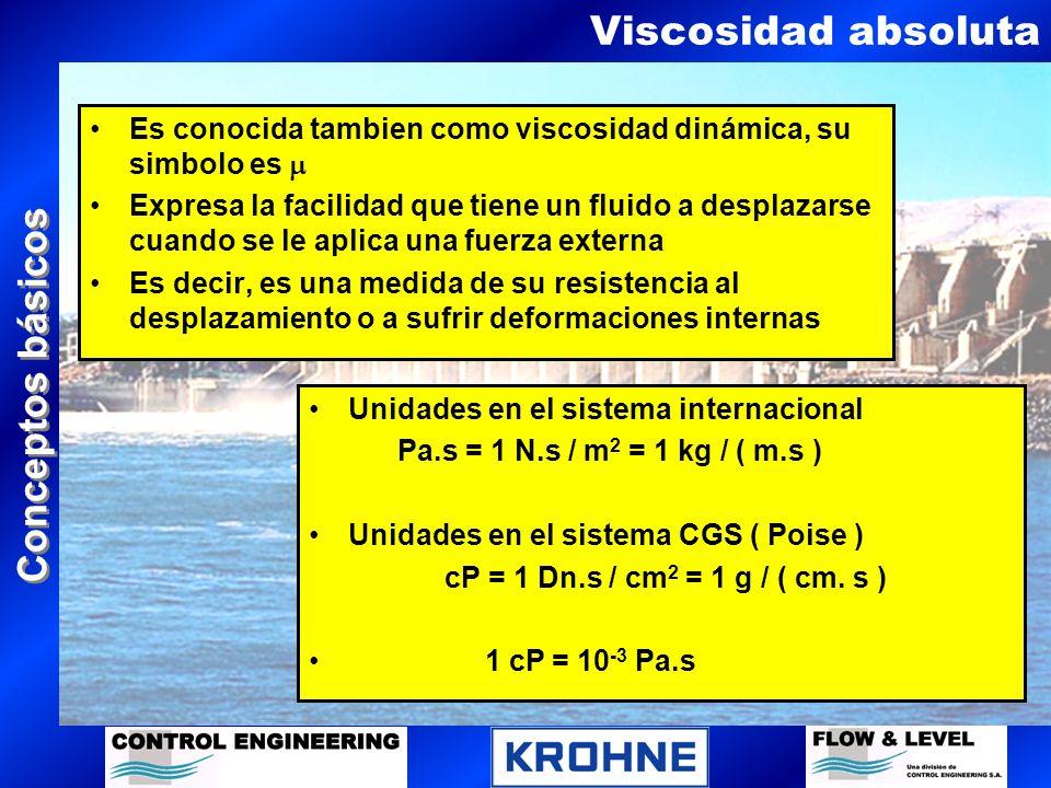 Conceptos básicos Viscosidad cinemática Es el cociente entre la viscosidad dinámica de un fluido y su densidad, su simbolo es En el sistema internacional su unidad es: m 2 / s En el sistema CGS su unidad es: stoke = cm 2 / s ( cSt ) ( cP ) ( gr / cm 3 )