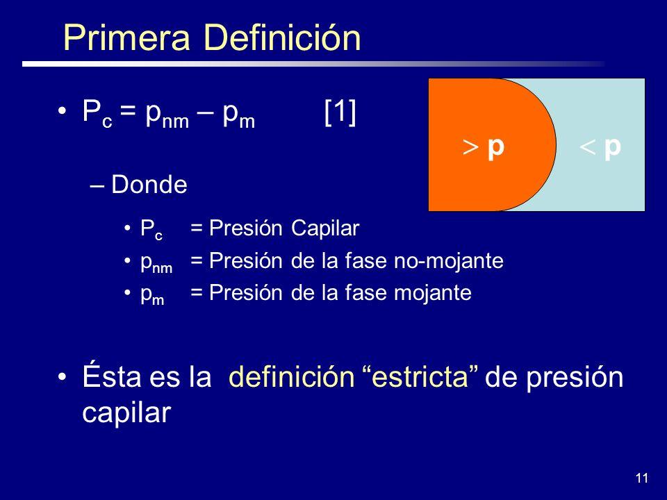 11 Primera Definición P c = p nm – p m [1] –Donde P c = Presión Capilar p nm = Presión de la fase no-mojante p m = Presión de la fase mojante Ésta es