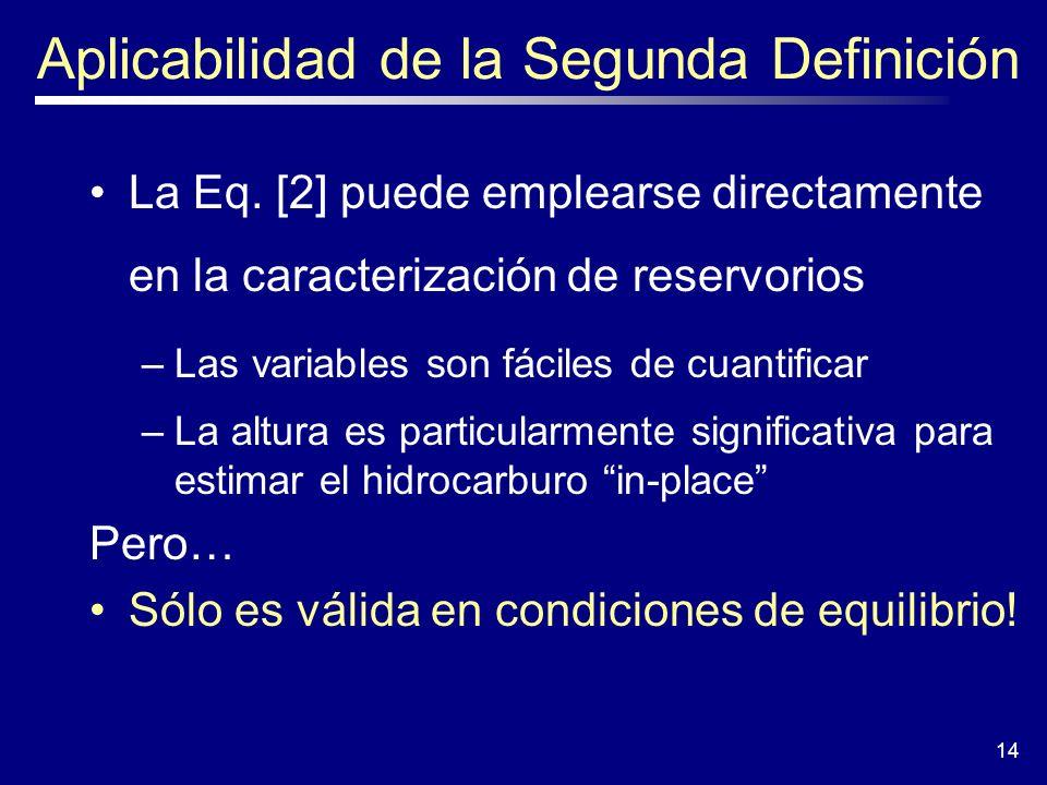 14 Aplicabilidad de la Segunda Definición La Eq. [2] puede emplearse directamente en la caracterización de reservorios –Las variables son fáciles de c