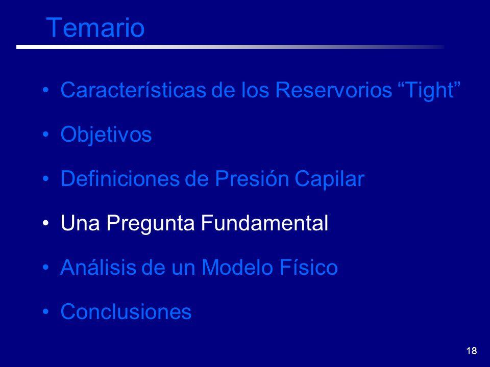 18 Temario Características de los Reservorios Tight Objetivos Definiciones de Presión Capilar Una Pregunta Fundamental Análisis de un Modelo Físico Co