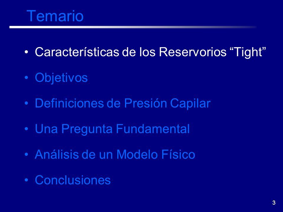 3 Temario Características de los Reservorios Tight Objetivos Definiciones de Presión Capilar Una Pregunta Fundamental Análisis de un Modelo Físico Con