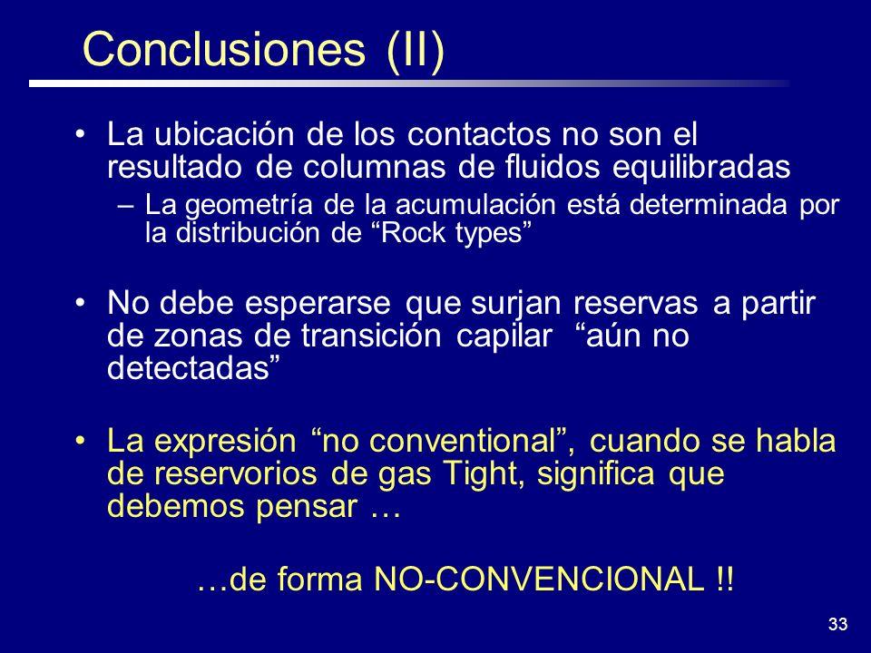 33 Conclusiones (II) La ubicación de los contactos no son el resultado de columnas de fluidos equilibradas –La geometría de la acumulación está determ