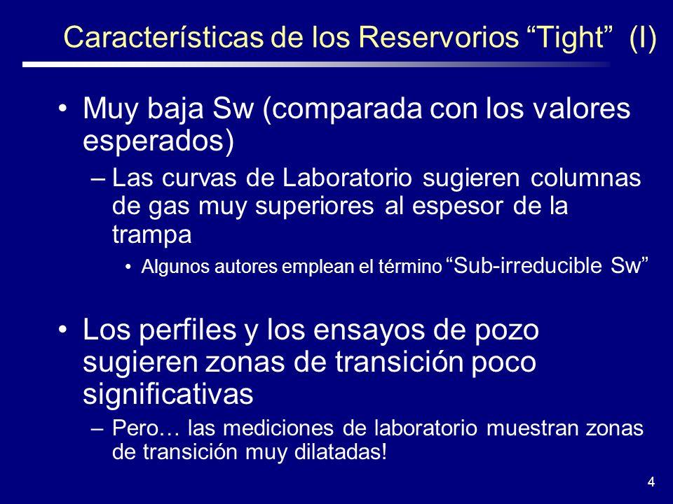 4 Características de los Reservorios Tight (I) Muy baja Sw (comparada con los valores esperados) –Las curvas de Laboratorio sugieren columnas de gas m