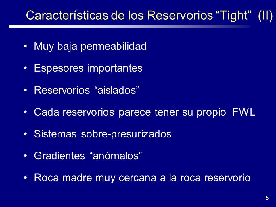 5 Características de los Reservorios Tight (II) Muy baja permeabilidad Espesores importantes Reservorios aislados Cada reservorios parece tener su pro