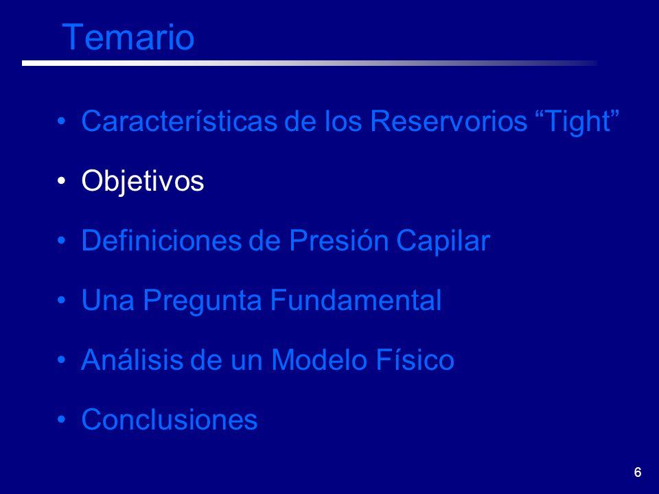 6 Temario Características de los Reservorios Tight Objetivos Definiciones de Presión Capilar Una Pregunta Fundamental Análisis de un Modelo Físico Con