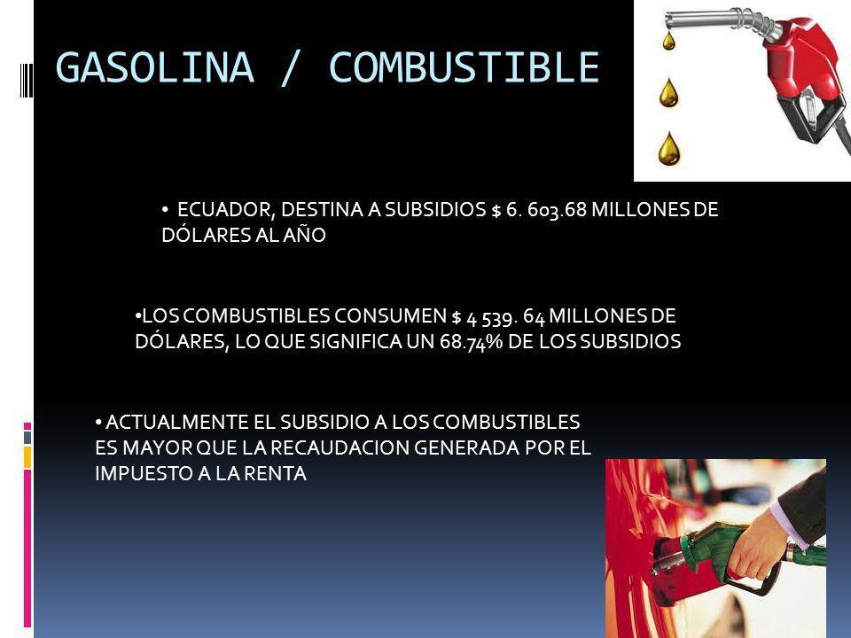 GASOLINA / COMBUSTIBLE ECUADOR, DESTINA A SUBSIDIOS $ 6. 603.68 MILLONES DE DÓLARES AL AÑO LOS COMBUSTIBLES CONSUMEN $ 4 539. 64 MILLONES DE DÓLARES,