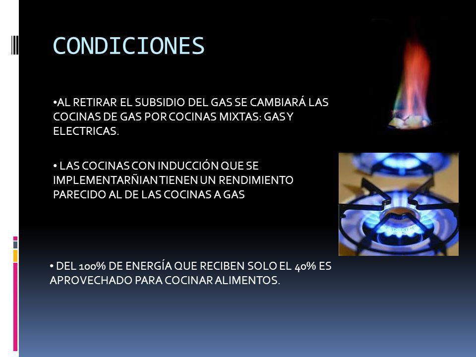 CONDICIONES AL RETIRAR EL SUBSIDIO DEL GAS SE CAMBIARÁ LAS COCINAS DE GAS POR COCINAS MIXTAS: GAS Y ELECTRICAS. LAS COCINAS CON INDUCCIÓN QUE SE IMPLE