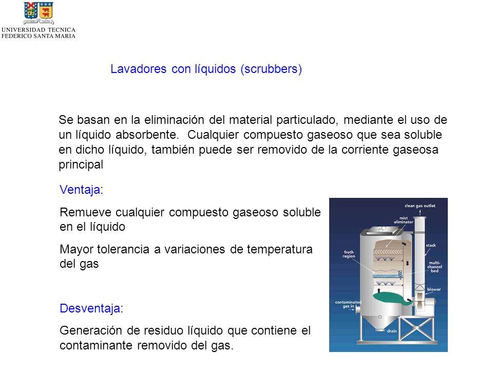 Lavadores con líquidos (scrubbers) Se basan en la eliminación del material particulado, mediante el uso de un líquido absorbente.