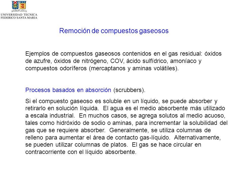Remoción de compuestos gaseosos Ejemplos de compuestos gaseosos contenidos en el gas residual: óxidos de azufre, óxidos de nitrógeno, COV, ácido sulfídrico, amoníaco y compuestos odoríferos (mercaptanos y aminas volátiles).