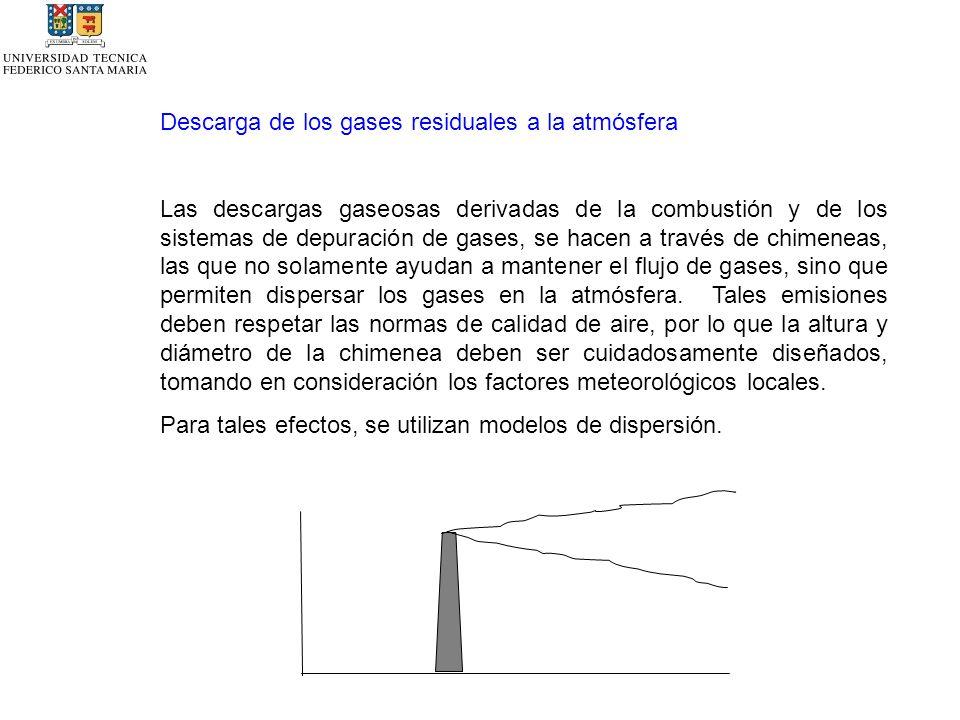 Descarga de los gases residuales a la atmósfera Las descargas gaseosas derivadas de la combustión y de los sistemas de depuración de gases, se hacen a través de chimeneas, las que no solamente ayudan a mantener el flujo de gases, sino que permiten dispersar los gases en la atmósfera.