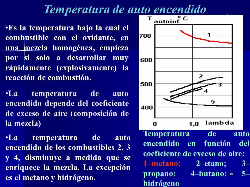 16 Temperatura de auto encendido Es la temperatura bajo la cual el combustible con el oxidante, en una mezcla homogénea, empieza por si solo a desarro