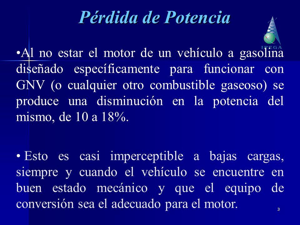 3 Al no estar el motor de un vehículo a gasolina diseñado específicamente para funcionar con GNV (o cualquier otro combustible gaseoso) se produce una