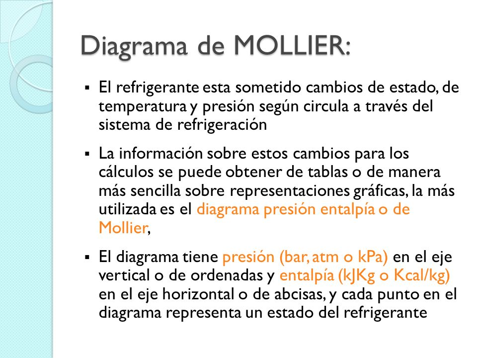 Diagrama de MOLLIER: El refrigerante esta sometido cambios de estado, de temperatura y presión según circula a través del sistema de refrigeración La información sobre estos cambios para los cálculos se puede obtener de tablas o de manera más sencilla sobre representaciones gráficas, la más utilizada es el diagrama presión entalpía o de Mollier, El diagrama tiene presión (bar, atm o kPa) en el eje vertical o de ordenadas y entalpía (kJKg o Kcal/kg) en el eje horizontal o de abcisas, y cada punto en el diagrama representa un estado del refrigerante