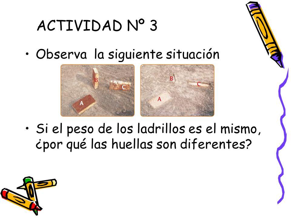 Observa la siguiente situación Si el peso de los ladrillos es el mismo, ¿por qué las huellas son diferentes? ACTIVIDAD Nº 3