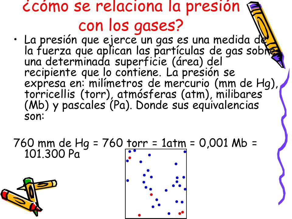 ¿cómo se relaciona la presión con los gases? La presión que ejerce un gas es una medida de la fuerza que aplican las partículas de gas sobre una deter