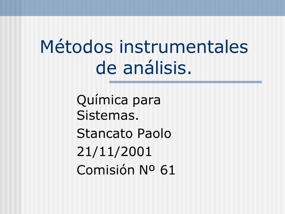 Métodos instrumentales de análisis. Química para Sistemas. Stancato Paolo 21/11/2001 Comisión Nº 61