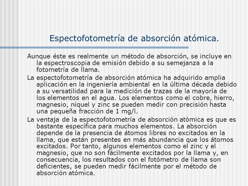 Espectofotometría de absorción atómica. Aunque éste es realmente un método de absorción, se incluye en la espectroscopia de emisión debido a su semeja