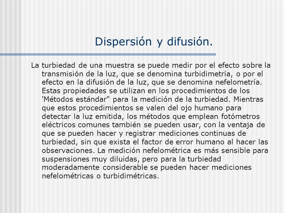 Dispersión y difusión. La turbiedad de una muestra se puede medir por el efecto sobre la transmisión de la luz, que se denomina turbidimetría, o por e