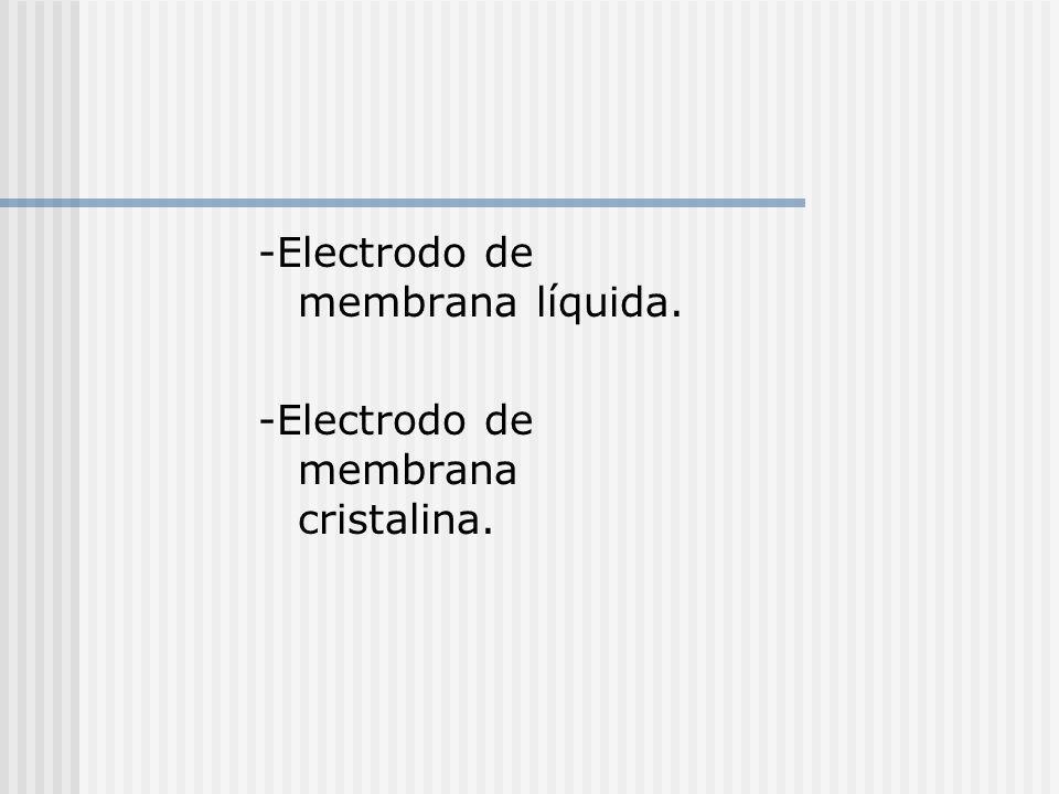 -Electrodo de membrana líquida. -Electrodo de membrana cristalina.