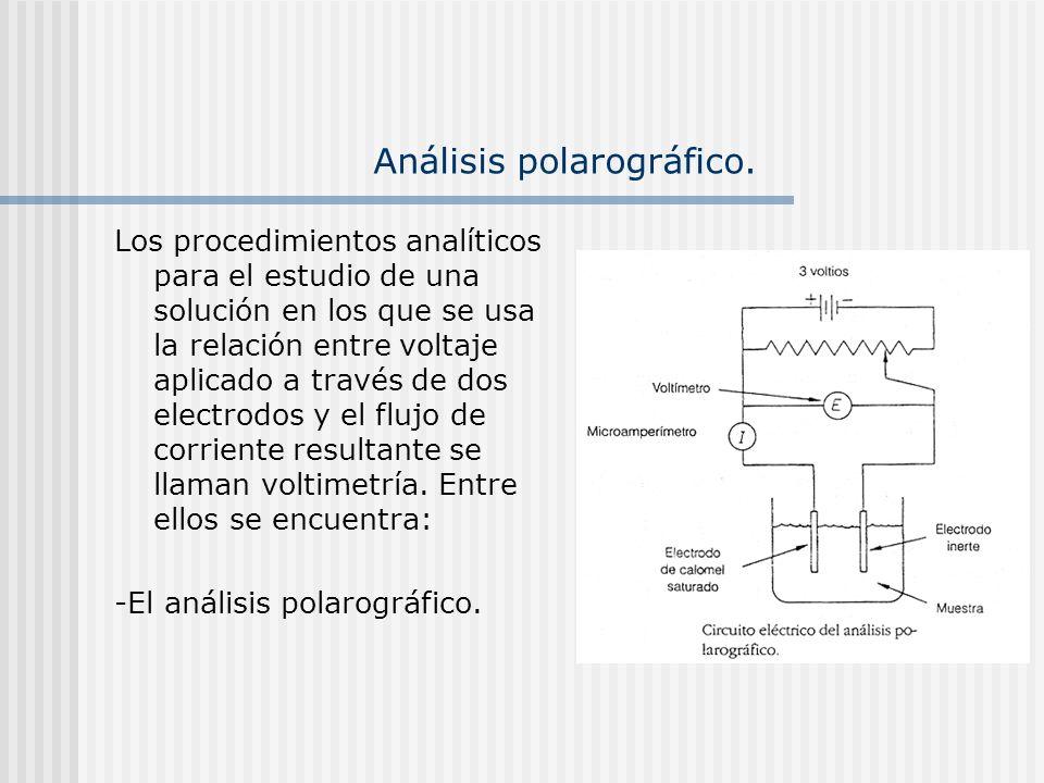 Análisis polarográfico. Los procedimientos analíticos para el estudio de una solución en los que se usa la relación entre voltaje aplicado a través de